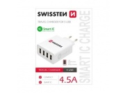 SWISSTEN SÍŤOVÝ ADAPTÉR SMART IC 4x USB 4,5A POWER BÍLÝ