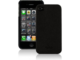 Zadní kryt na iPhone 4/4S - Eco-leather, Black