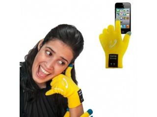 Dotykové rukavice s připojením bluetooth, velikost M, žluté